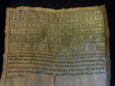 "Antique Hand Stitched 16"" Sampler Alphabet, Numbers, Lord's Prayer Early 19th C."