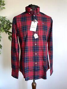 Barbour Wetherham Original Red Tartan Long Sleeve Pocket Shirt Size Medium
