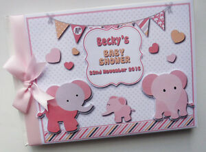 Personalised Elephants girls baby shower guest book, girl baby shower gift