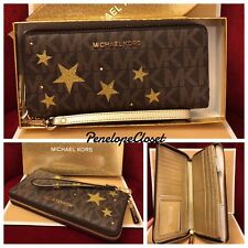 NWT IN BOX MICHAEL KORS ILLUSTRATIONS STARS CONTINENTAL WALLET IN BROWN/PALEGOLD