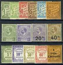 1905-25 MONACO TIMBRES TAXE Y & T N°1/17 SAUF 4 ET 10 x