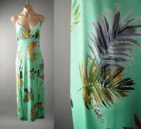 Light Blue Tropical Island Palm Print Empire Waist Sun 240 mv Dress 1XL 2XL 3XL