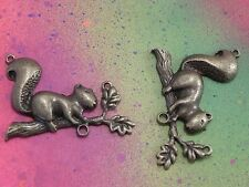 3 Squirrel On Branch Pet Animal Woodland Squirrels Bronze Charms Connector Charm
