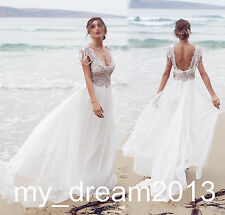 Beach Bohemian Wedding Dresses Beaded Bridal Gown Formal Prom Ball Deb Custom