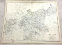 1861 Antique Map of Prussia Old Prussian Empire Hand Coloured Engraving Johnston