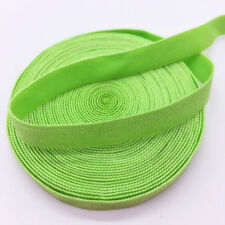 """5yds 3/8"""" Solid Fold Over Elastics Spandex Satin Band Lace Sewing Trim Green"""