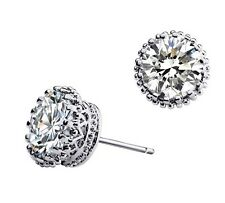 Queen Simple Small White Zircon Top Quality Crown Shaped Studs Earrings E314