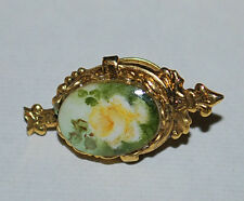 Costume Fashion Jewelry Stick Pin Gold Tone Ornate w/ Yellow Rose Oval Stone VTG