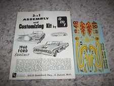 AMT -ANNUAL1960 FORD CONV-INSTRUCTIONS/DECALS-SCREWBOTTOM 4 MODEL CAR
