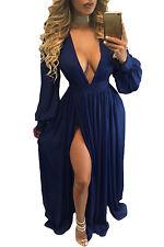 New Ladies Blue Double Slit Long Sleeves Goddess Maxi Dress Size S M & L