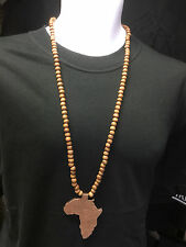 """AFRICA ISLAND 8cm x 6cm PENDENT NECKLACE WITH BROWN BEADS 84cms (33"""")CULTURE"""
