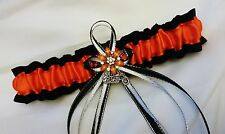 PLUS SIZE Black Orange Motorcycle GARTER Belt Bridal PROM Wedding Biker Harley