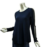 Sympli Midnight Blue Knit Top Size 8 Medium Black Mesh Sleeve Detail