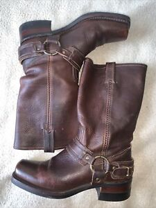 Frye Brown Leather Biker Harness Women's Boots  071140-700 Sz 8.5M