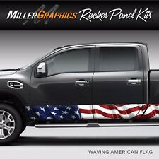American Flag Waving Rocker Panel Graphic Decal Wrap Kit for Truck SUV