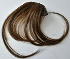 Light Brown Thin Air Bangs Hair Extension Clip Silky Fringe Front Hairpiece