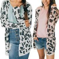 Womens Leopard Print Jacket Sweater Top Winter Cardigan Casual Long Sleeve Coat