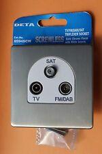 6 X Deta 8594SCW Satin/brushed Chrome Triplexer Socket TV FM DAB Satellite Sky