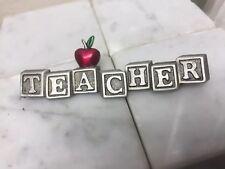 JJ JONETTE SIGNED PEWTER TEACHER IN BLOCKS & APPLE BROOCH PIN New Old Stock