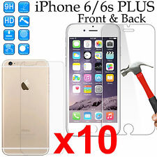 10 Tempered Glass 9H screen protector iPhone 6 6s PLUS Front + anti scratch Back