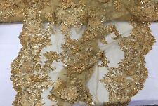 Gold Lavish 3D Flowers Embroider With Sequins and beaded On A Mesh Lace-by yard.
