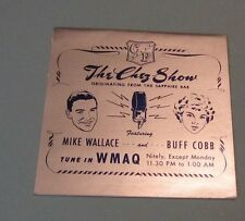 1950's Mike Wallace Buff Cobb The Chez Show Advertising Card WMAQ Radio Chicago