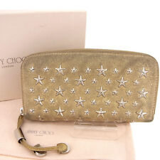 Jimmy Choo Wallet Purse Long Wallet Gold Woman Authentic Used Y261