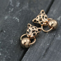 Women 18K Rose GOLD GP Cheetah Leopard Head Ball Bead Drop Fashion Stud Earrings