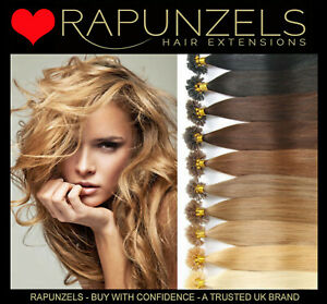 "Rapunzels UK 16"" pre bonded keratin u tips hair extensions 1g /0.5g double drawn"