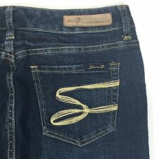 Womens SEVEN 7 Flare Jeans Size 8/32 Dark Wash Whiskering Thick Stitched Pockets