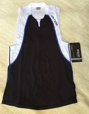 ORCA Equip Tri Tank Size Medium Black White Triathlon Dri-lite Sleeveless Shirt
