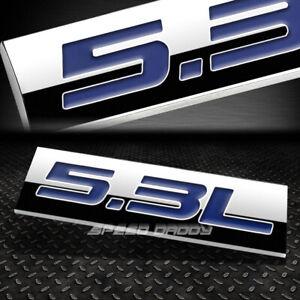 METAL EMBLEM CAR BUMPER TRUNK FENDER DECAL LOGO BADGE CHROME BLUE 5.3L 5.3 L
