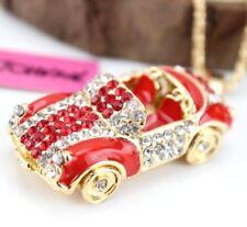 Pendant Betsey Johnson Red Sports car Enamel rhinestone chain Retro necklace