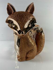NEW Bath & Body Works Rose Gold Glitter Fox Pedestal 3 Wick Candle Holder