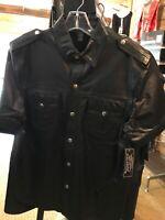 NWT Leather Uniform Snap Front Shirt Large Black