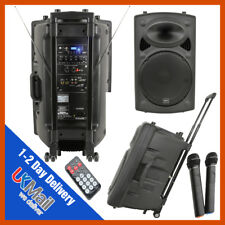 QTX QR15PA Portable Rechargeable PA System + Wireless Microphones USB SD & MP3