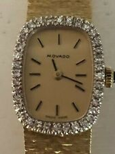 Ladies Movado 14K Yellow Gold and Diamond Watch Vintage Wind Up 28.7 Grams
