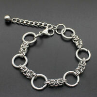Fashion Men's Punk Stainless Steel Curb Link Chain Wristband Clasp Cuff Bracelet