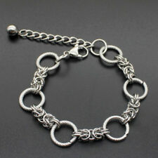 Mens Boy Silver Stainless Steel Round Ring Bracelet Bandgle Wristband Cuff Chain