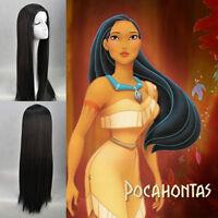 Pocahontas Indian Princess Long Black Cosplay Wigs Disney Princess Cos Wig/Hair