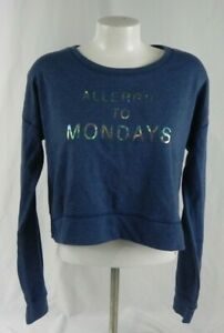 NEW Aeropostale Blue Allergic to Mondays Fleece Crop Sweatshirt (A1-4)