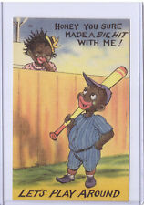 New Listing1952 Curt Teich Black Americana Postcard Let's Play Around 207