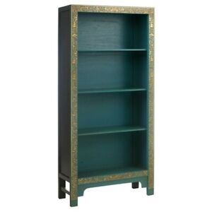 Made to Order Golden Dragon Oriental Painted Solid Wood Teak and Gold Bookshelf