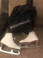 RIEDELL ICE SKATES MK Sheffield Blades Size 5 Womens /Girls Red Wing MN w Bag/co