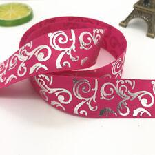 DIY 5yards 1inch 25mm Print Hot Silver Satin Bow Ribbon Hair Sewing Pink