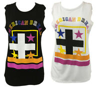 Womens Ladies American Dream Celeb Inspired Cross Star Print Vest Top T-Shirt