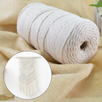 200M 2/3MM Natural Cotton Rope Cord String Twisted Beige Craft Macrame Artisan