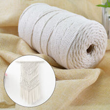 200m 100% Natural Beige Cotton Twisted Cord Craft Macrame Artisan String 3mm NEW