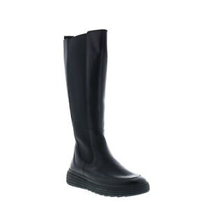 Geox Phaolae D94FDF00085C9999 Womens Black Leather Zipper Knee High Boots 6