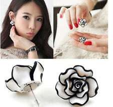 Women Elegant Lady Black & White Rose Flower Stud Earrings